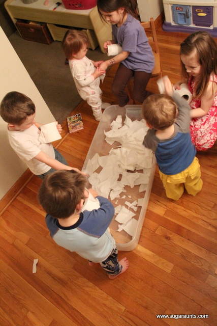 Kids can make fake snow for a tactile sensory experience.