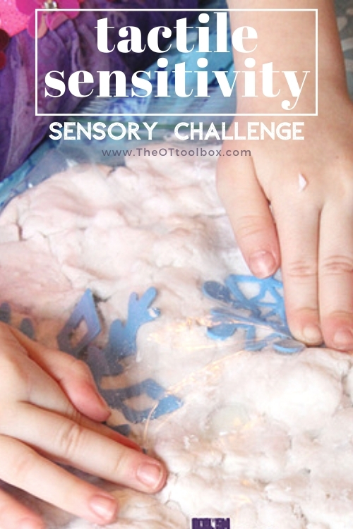 tactile sensitivity sensory challenge with fake snow
