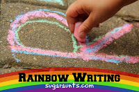 Tracing letters with sidewalk chalk improves hand strength.