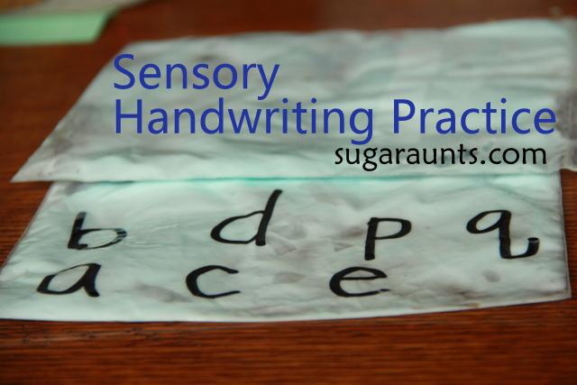 Practicing Handwriting with shaving cream