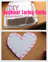 Make DIY lacing cards to help kids with fine motor skills.