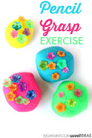 Fine motor play idea that promotes pencil grasp with beads and play dough