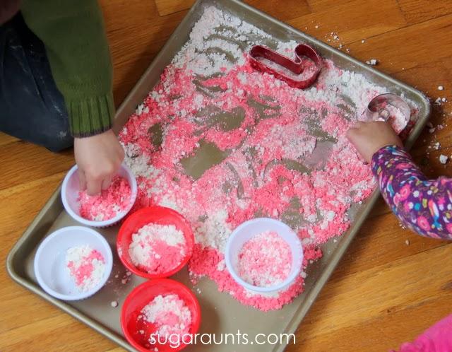 Christmas sensory dough with a 4 ingredient moon dough recipe.