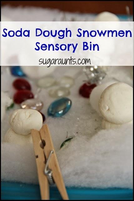 Sensory Bin with Soda Dough Snowmen