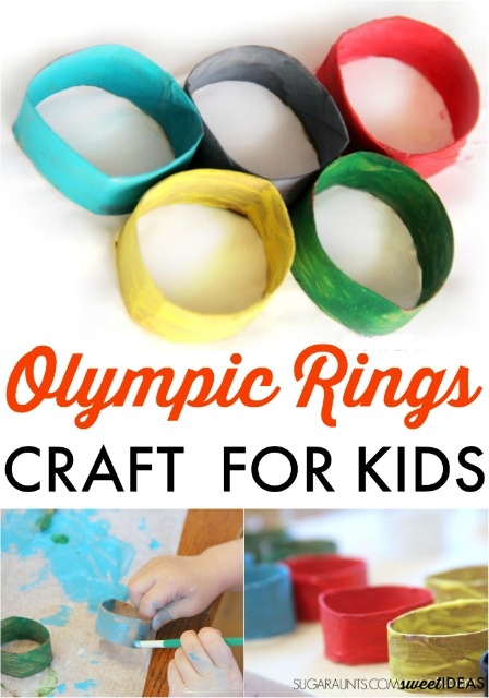 recycled toilet paper tubes craft to make an Olympic rings craft