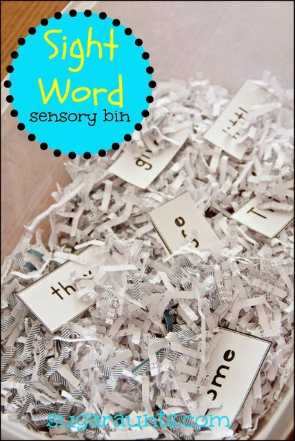 Kids can practice new sight words with a sensory bin.