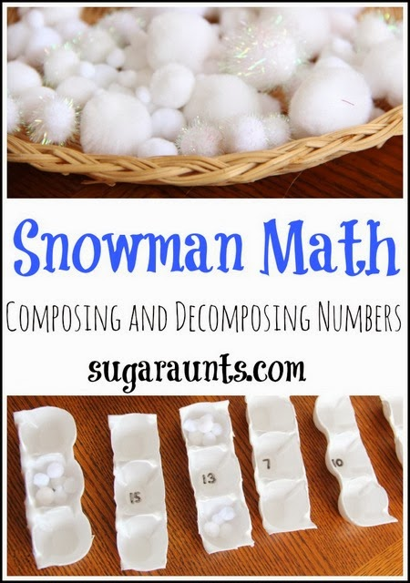 Composing and Decomposing numbers activity for Kindergarteners with a Snowman Theme