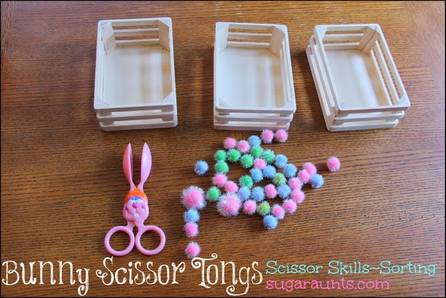 New scissor users will love to sort and manipulate crafting pom poms with bunny tongs.
