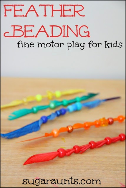 Kids can work on fine motor skills and color matching awareness while beading feathers.