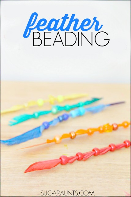 Fine motor activity for kids using beads and feathers.