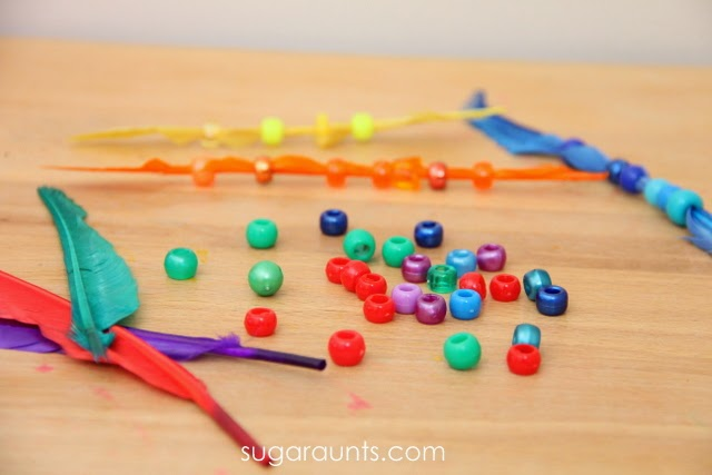 Preschoolers and Toddlers can match beads to feathers to learn colors.