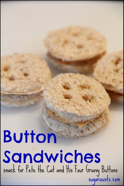 Kids will love these button snacks for Pete the Cat and His Four Groovy Buttons.