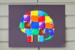 Create an Elmer craft using stamp painting.