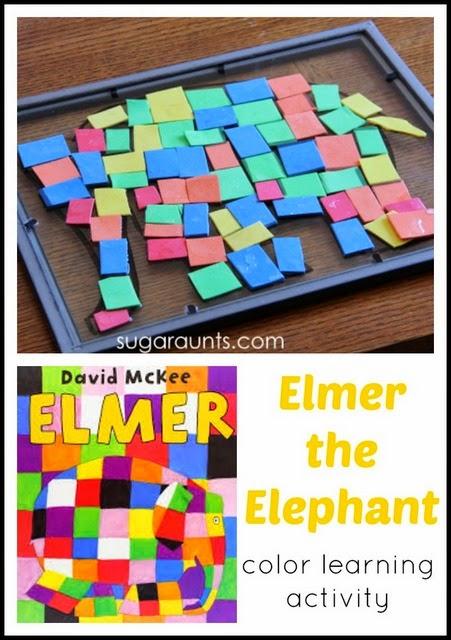 Elmer the Elephant book and Elmer activity for kids