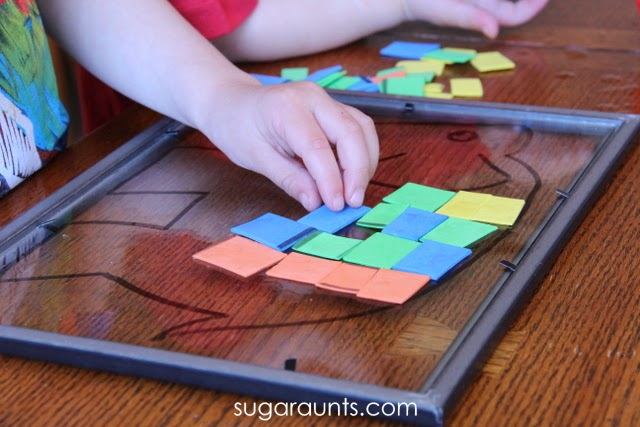 Use this fine motor activity with the book Elmer the Elephant to help kids learn abstract concepts while building visual perception.