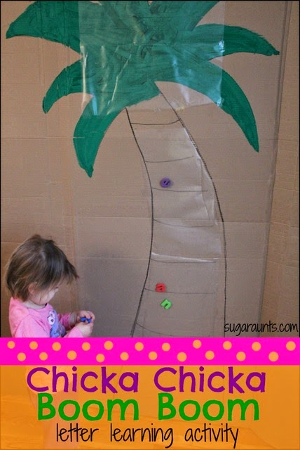 Chicka Chicka Boom Boom book activity to combine letter learning with gross motor.