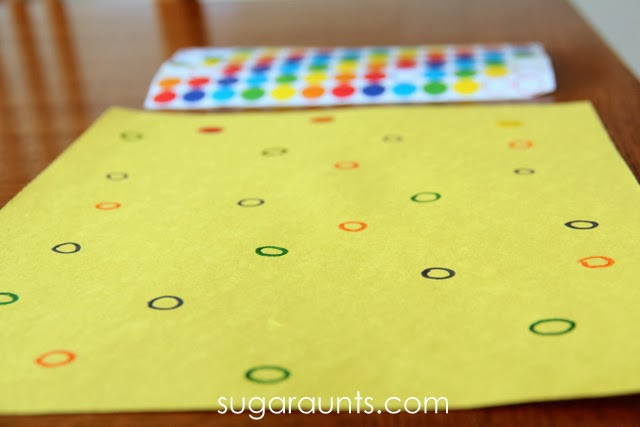Eye hand coordination is tested and practiced with this easy color matching activity for kids.