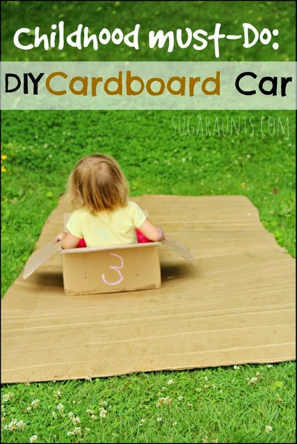 """All kids should do this in their childhood! Make a cardboard car and """"drive"""" down a cardboard hill."""