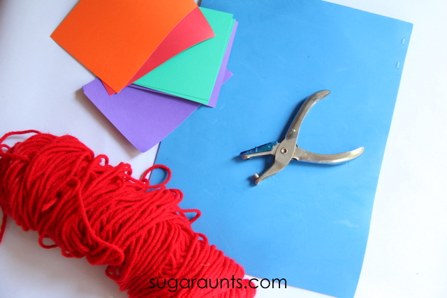 Craft supplies for a nursery rhyme craft for kids.