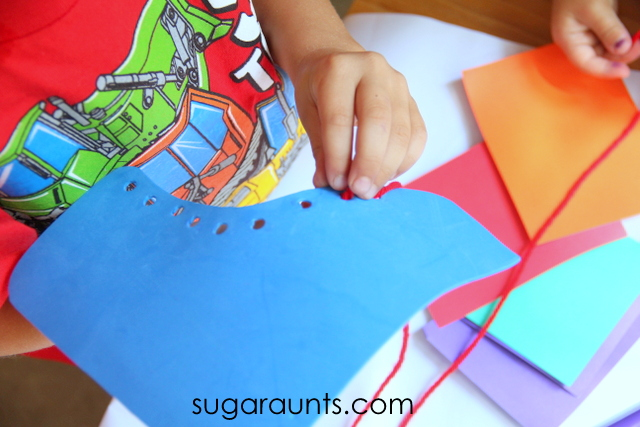 Kids can use this shoe tying craft to build fine motor skills, lacing, and shoe tying.