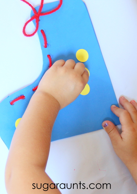 Use this shoe tying craft to help kids with lacing and tying shoes.