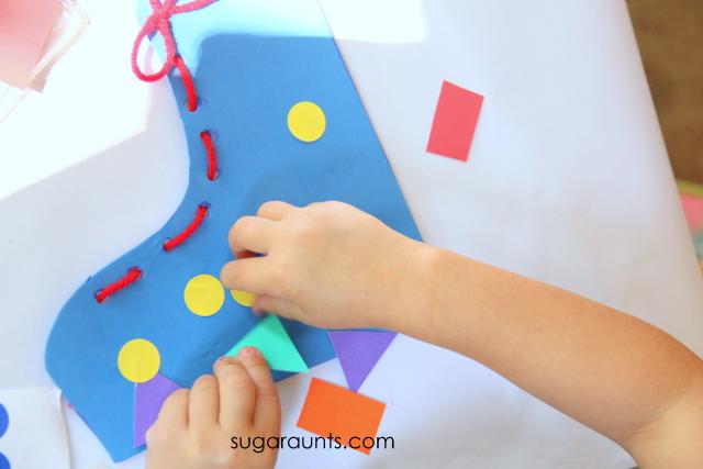 Shoe tying craft for kids