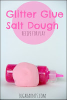 GLitter glue salt dough recipe for kids to play with in sensory play
