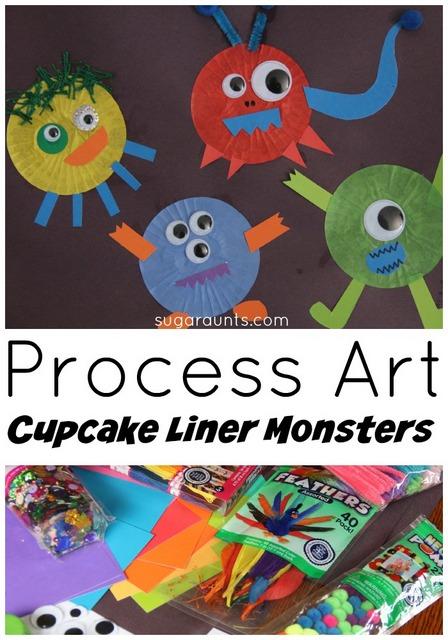 Monster cupcake liner craft