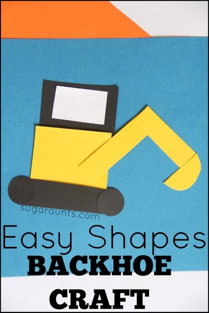 Easy Shapes Backhoe craft