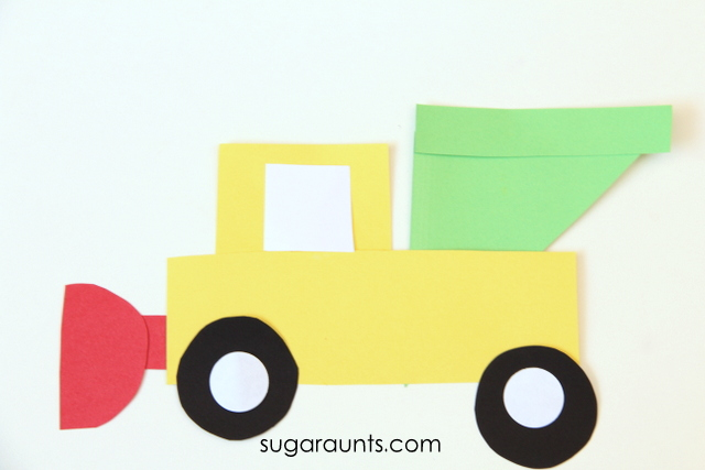 Kids love salt trucks and snow plows!  Make an easy shapes truck craft to work on visual memory and visual discrimination.