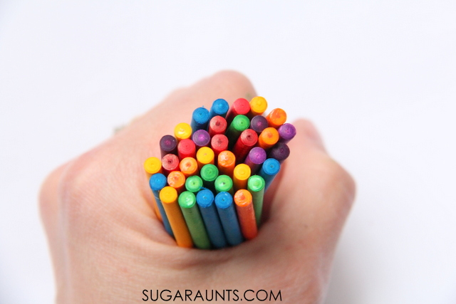 Dye lollipop sticks with food coloring for colorful play!