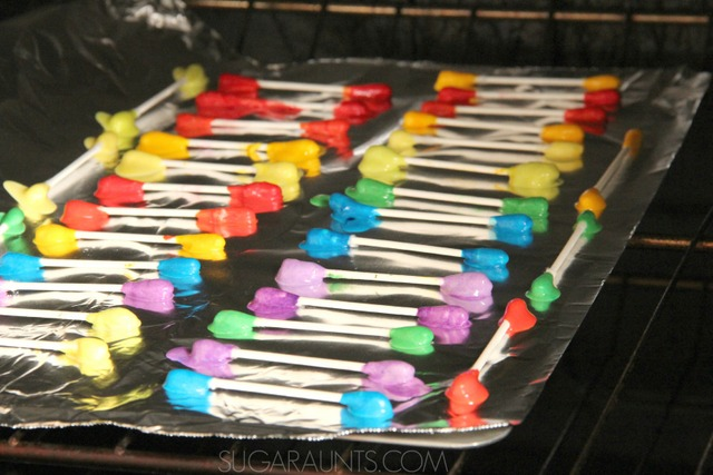 Baked Cotton swabs for sensory play, learning, and loose part play