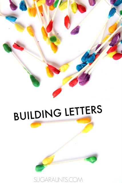 Letter formation cotton swabs