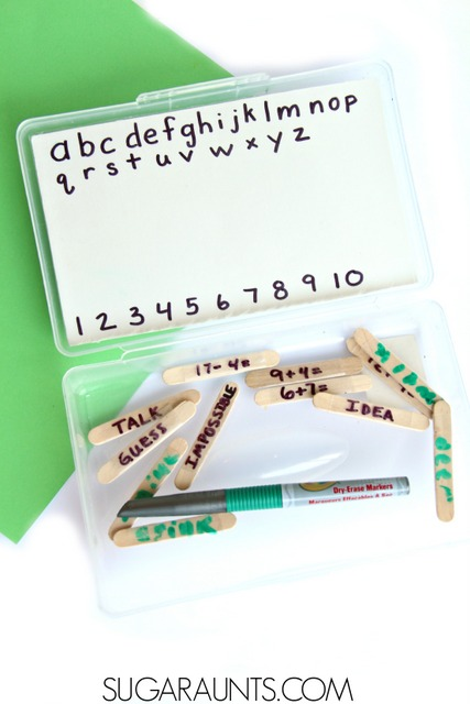 DIY Whiteboard dry erase board kit for travelling with kids. Practice letters, numbers, math, handwriting, and drawing while on long car trips or flights.