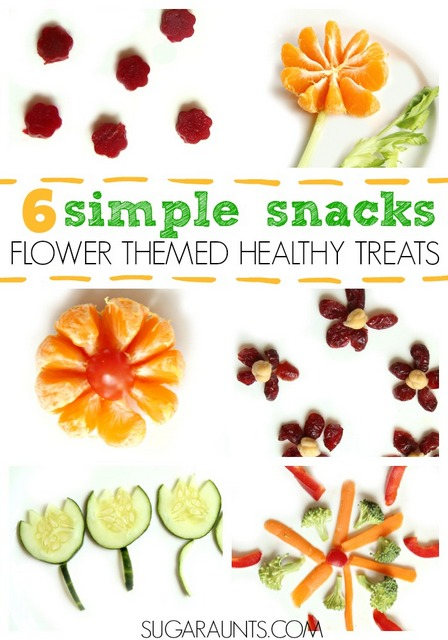 Cute flower snack ideas for kids!  Kids can help make these flower themed healthy treats.