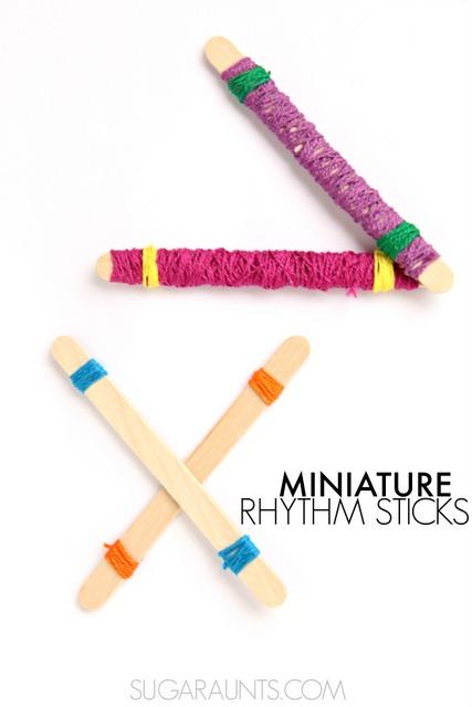 DIY rhythm sticks and activities for preschool aged kids