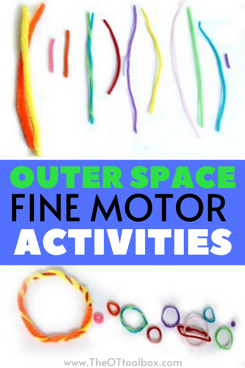 space fine motor activities for using to improve fine motor skills with a space theme