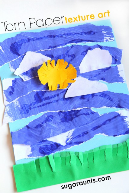 Paper tearing activity for kids uses recycled artwork to build fine motor skills and motor control while tearing paper.