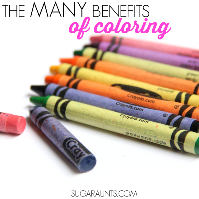 There are so many benefits to coloring for kids: hand strength, visual motor skills, visual perception, tool use, creativity, endurance, creativity, self-confidence, task completion, and learning objectives!  Tips from an Occupational Therapist for working on coloring and handwriting in school and at home.