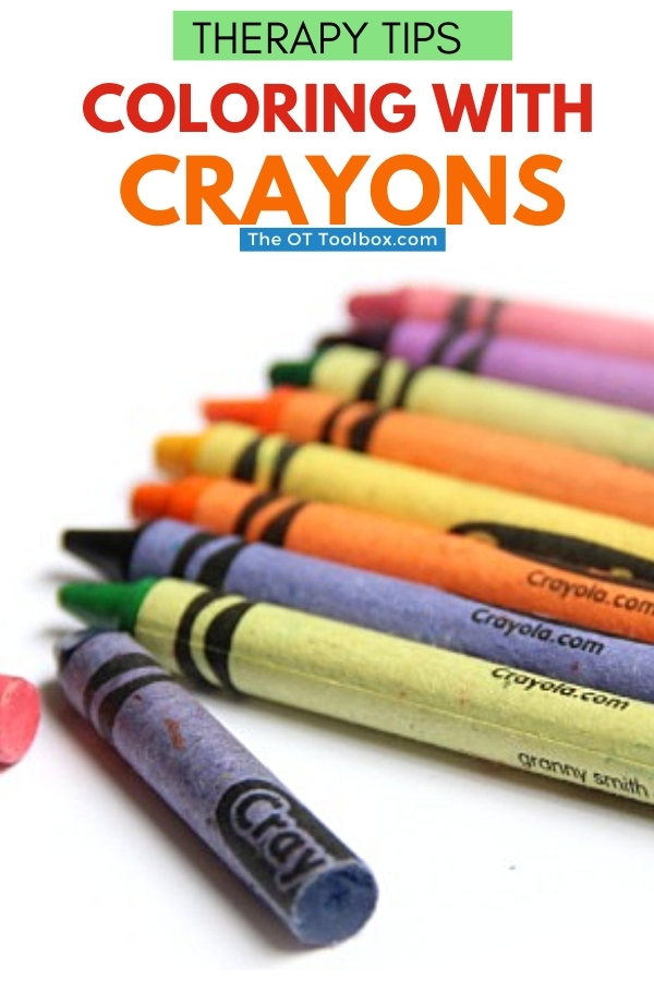 Coloring with crayons in occupational therapy helps kids develop fine motor skills