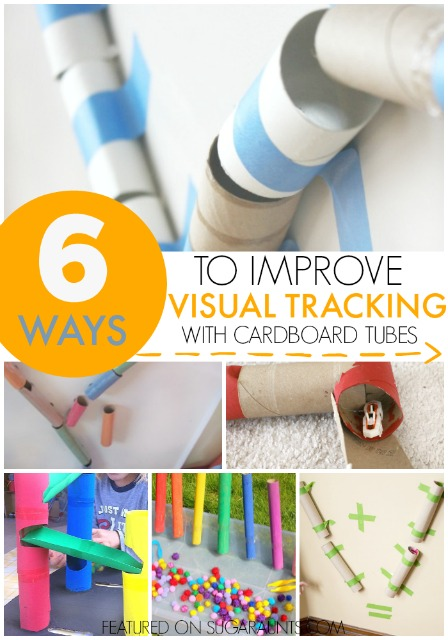 Visual Tracking activity using cardboard tubes for recycled creative play and therapy ideas.  Use this in Occupational Therapy for working on reading and writing as well as other functional skills.