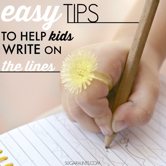 Tips for helping kids to write on the lines in handwriting problems. Ideas to help kids with sloppy handwriting from an Occupational Therapist.
