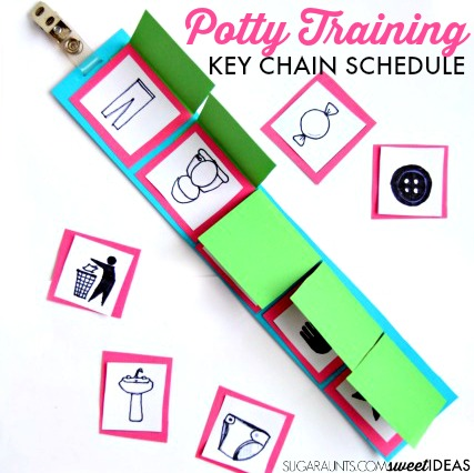 Tips and help for potty training with behaviors and attention problems like this key chain schedule.