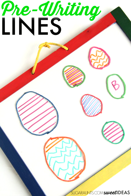 Easter writing activity to help kids wrok on pre-writing lines and pencil control with an Easter egg theme.