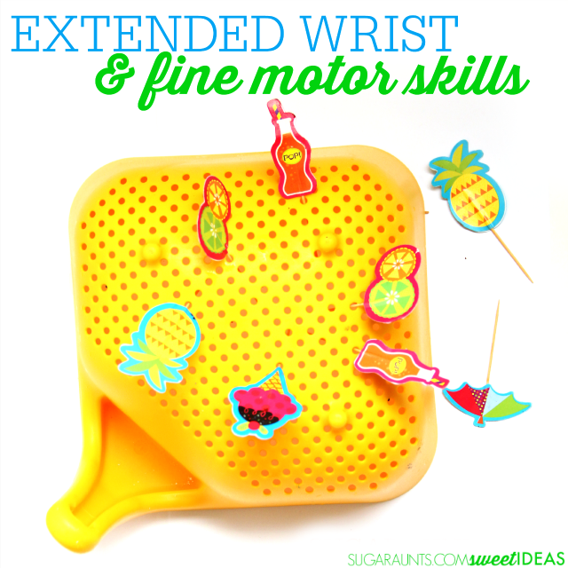 Super easy fine motor activity for improving an extended wrist and tripod grasp for kids, using household items like a colander and toothpicks.