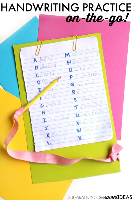 List handwriting practice