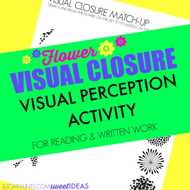 Visual closure flower themed visual perception activity