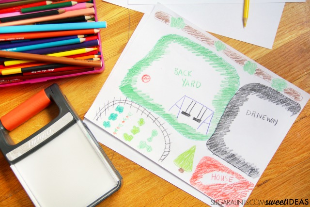 This map activity is great for building and developing spatial concepts and higher level thinking right in the backyard, using a map and lights to develop spatial relations.
