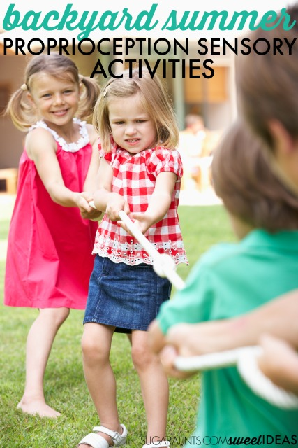 Proprioception activities for backyard sensory play, these are free and inexpensive sensory activities that provide heavy work right in the backyard.