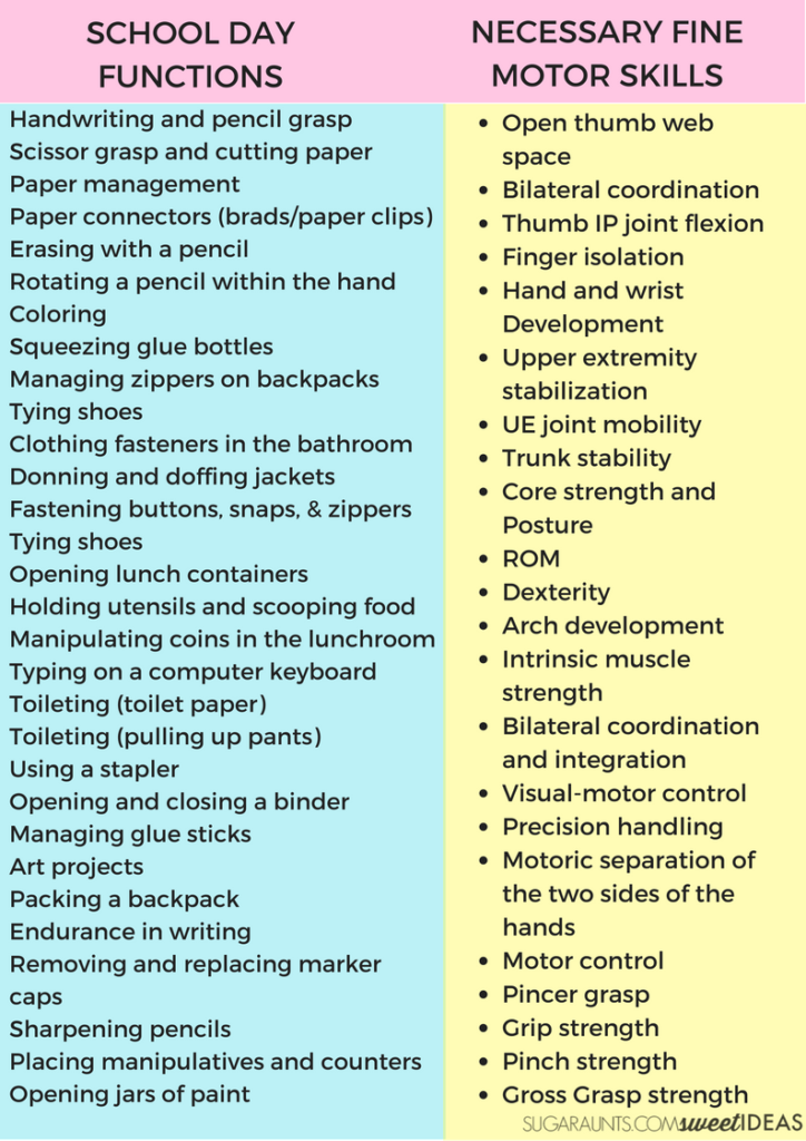 These school day tasks are impacted by fine motor skill development.